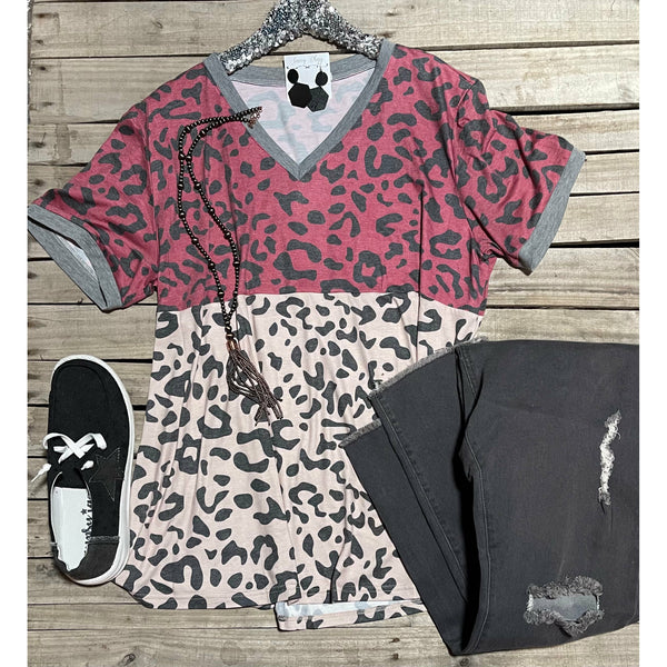 Burgundy grey colorblock leopard top