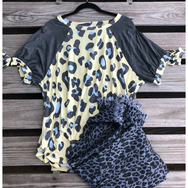 Charcoal yellow leopard top
