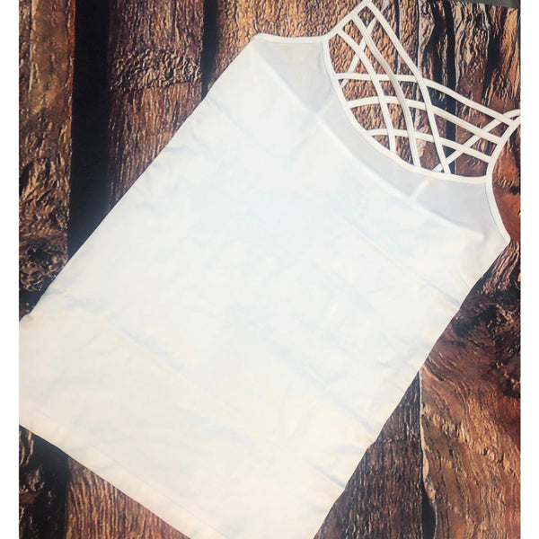 September white criss cross tank