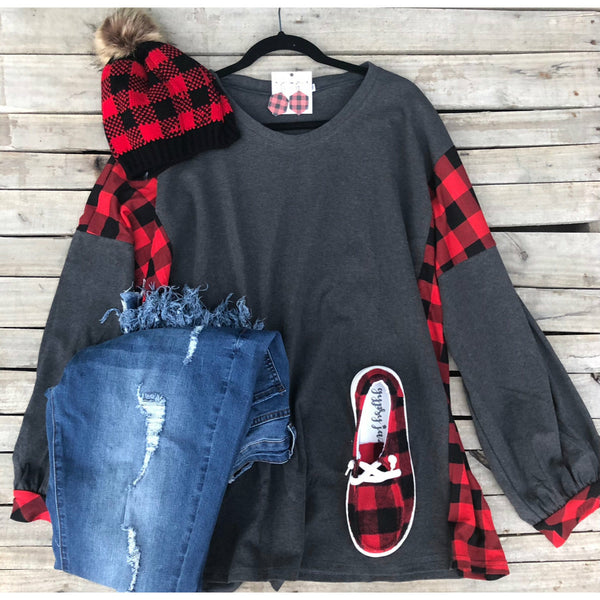 Charcoal plaid long sleeve top