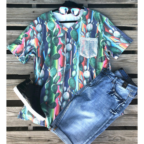 Cactus serape sequin pocket top