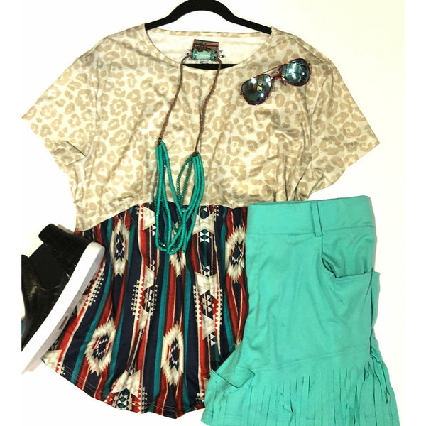 All around leopard aztec top