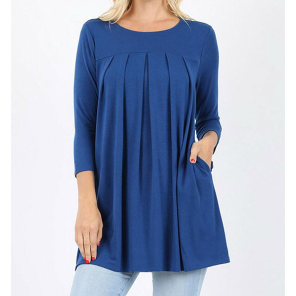 Blue 3/4 pleated top