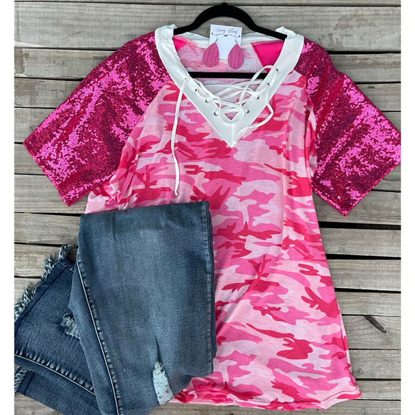 Pink sequin camo top