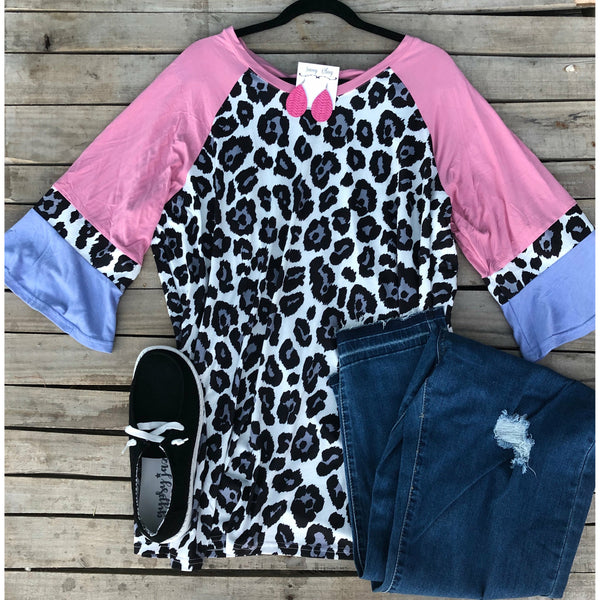 Pink snow leopard top