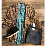 Leopard button down cardigan top