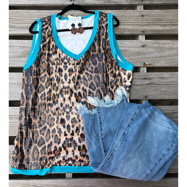 Turquoise leopard sequin tank