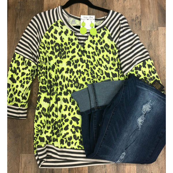 Neon lime leopard striped  top
