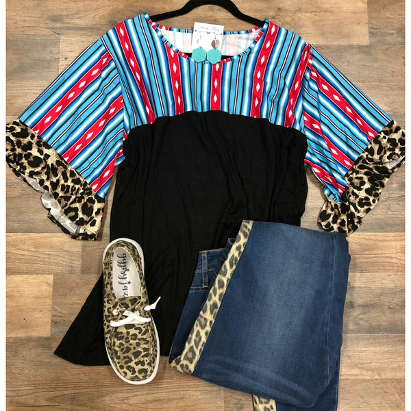 Blue serape leopard top