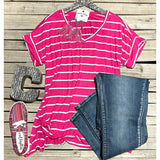 Heather pink  striped top