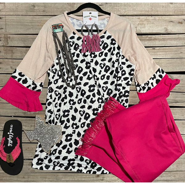 Pink leopard colorblock top