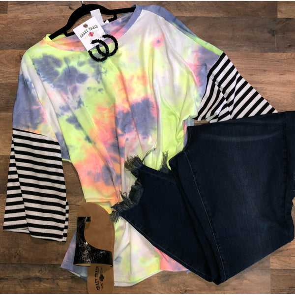Neon tie dye striped top