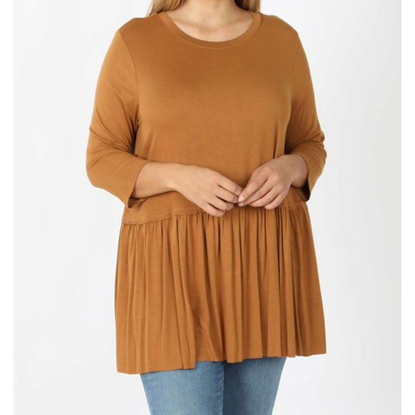 Coffee 3/4 sleeve ruffle top