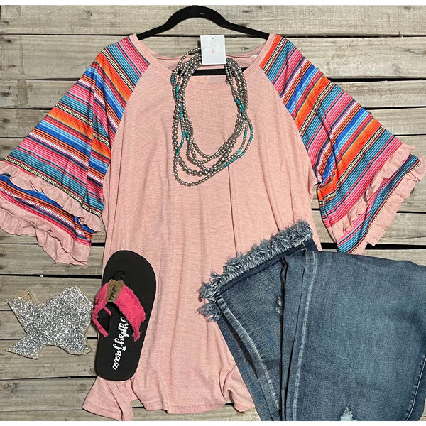 Pink serape top