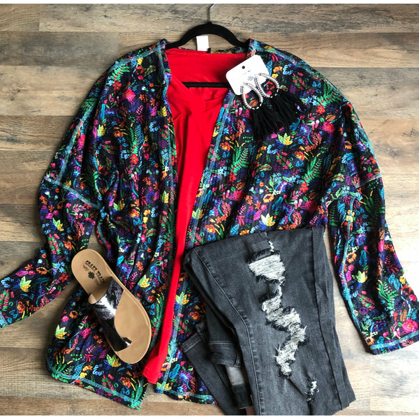 Floral striped cardigan
