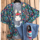 Turquoise floral reversible poncho