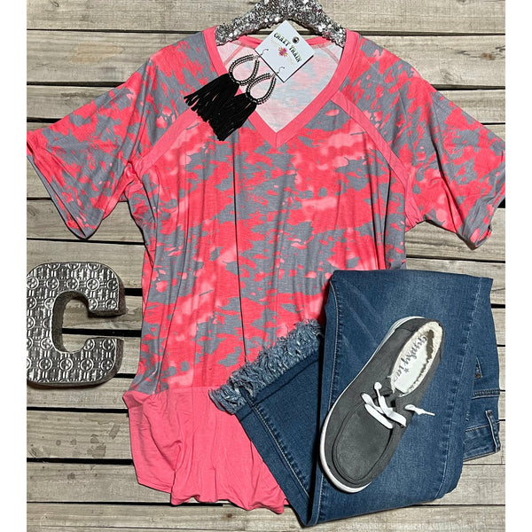 Grey pink tie dye top