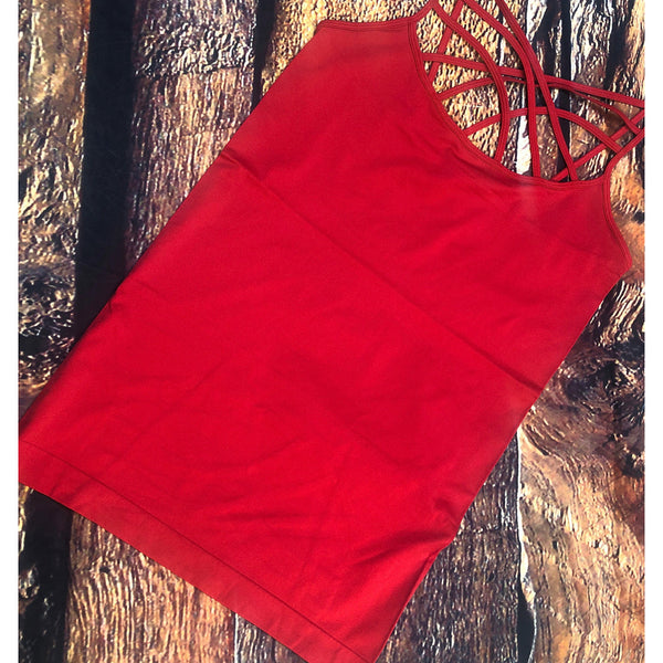 September red criss cross tank