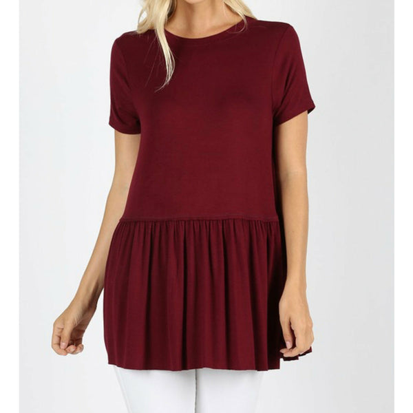 Burgundy basic single ruffle top