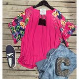 Pink floral double  sleeve