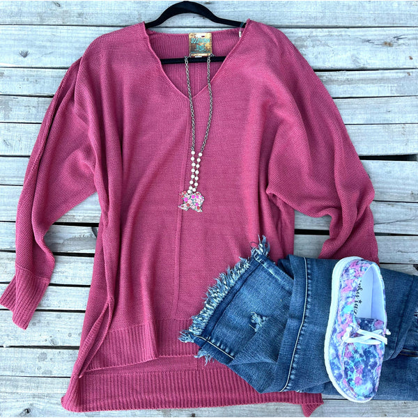 Rose hi low knit  sweater