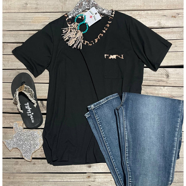 Black with leopard accents top