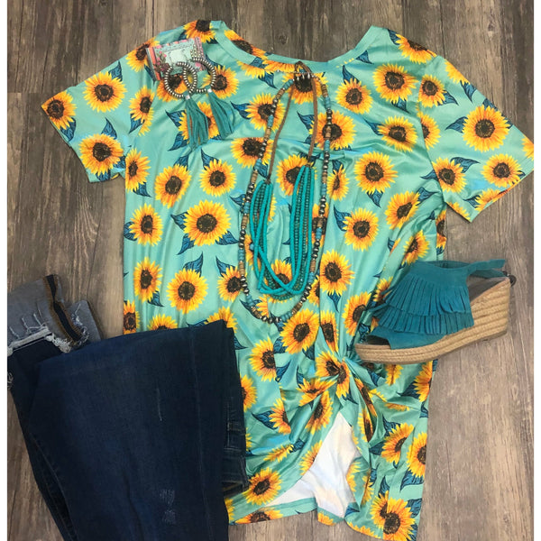 Turquoise sunflower knot top
