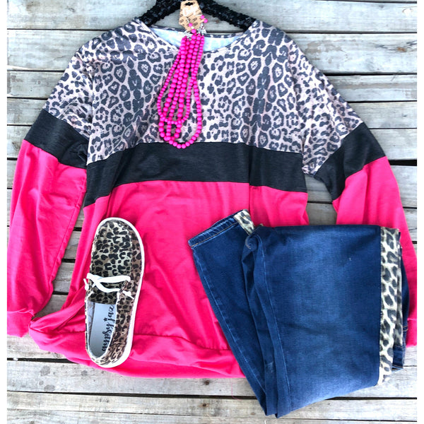 Leopard pink long sleeve top