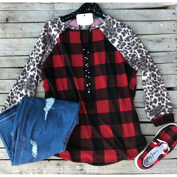 Red  plaid leopard top