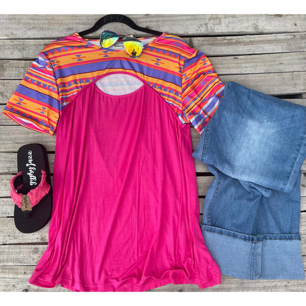 Pink cut out aztec top