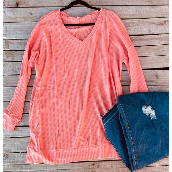 Coral waffle  sweater
