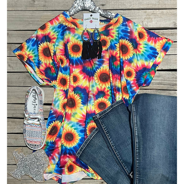 Tie dye sunflower top