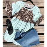 Mint leopard ruffle top