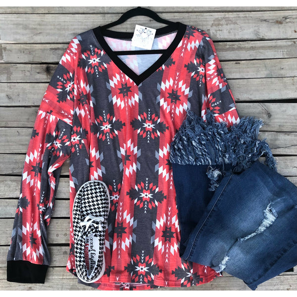 Red aztec long sleeve top