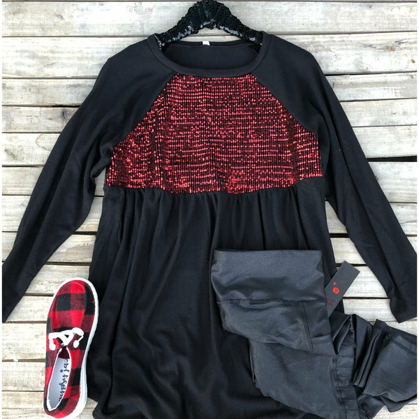 Black red sequin tunic