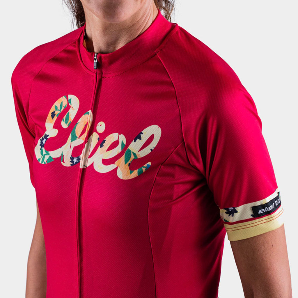 red athletic fit cycling jersey