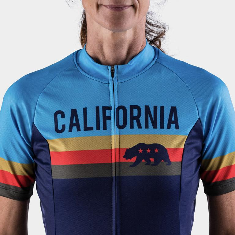 blue athletic fit cycling jersey