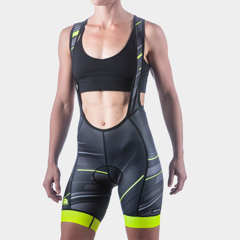 Laguna Seca Women's Bib Shorts - Black Neon Dawn Patrol