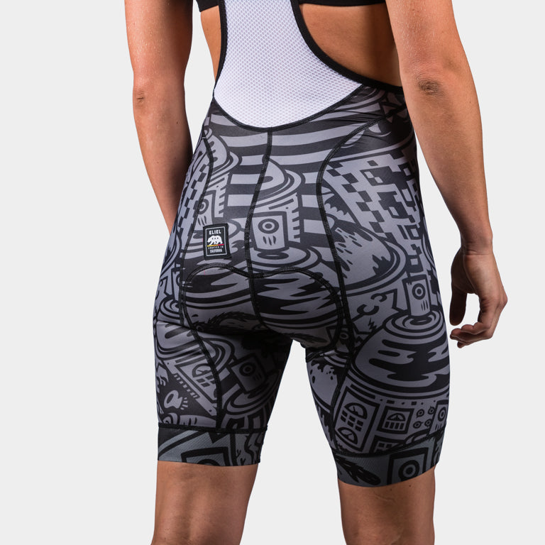 Laguna Seca Women's Bib Shorts - Rattle Can Black Gray