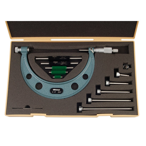 Mechanical Micrometer,  0-6 In, .001 In Interchangeable Anvil