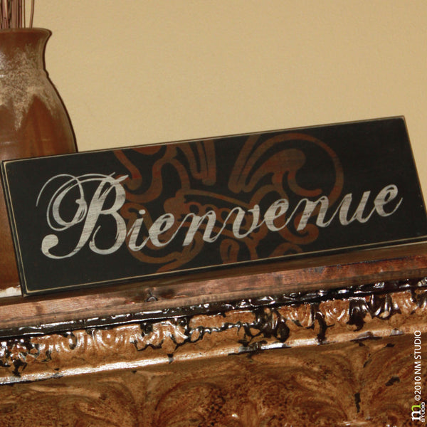 Bienvenue Welcome Customizable Wood Sign Wall Art Handmade
