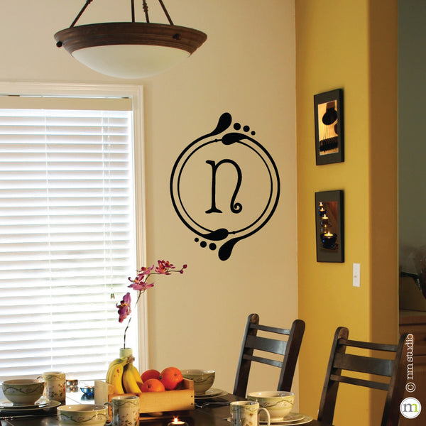 Blooms Initial Monogram Wall Decal