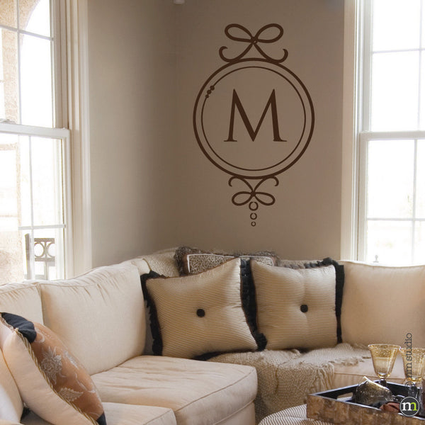 Bows Initial Monogram Wall Decal