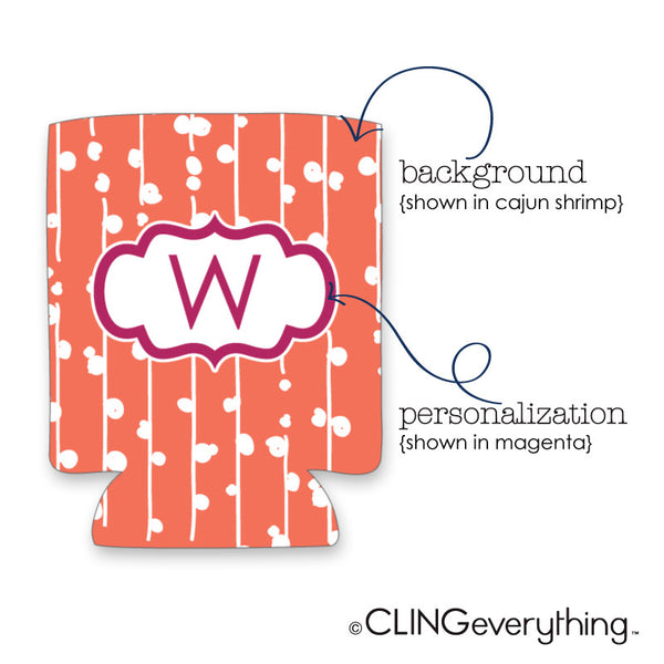Cherry Bud Koozie Personalized Monogram, Initial, Name