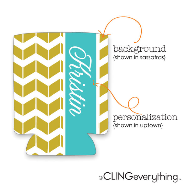 Chevron Shutter Koozie Personalized Monogram, Initial, Name Options