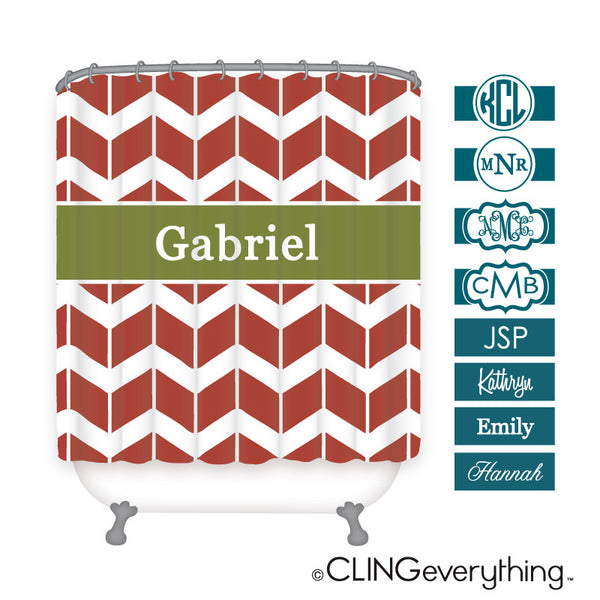 Chevron Shutter Shower Curtain Personalized Monogram, Initial, Name
