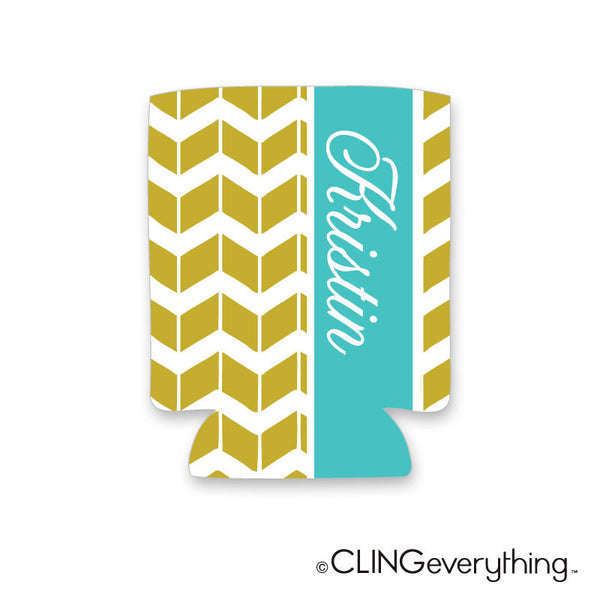 Chevron Shutter Koozie Personalized Monogram, Initial, Name