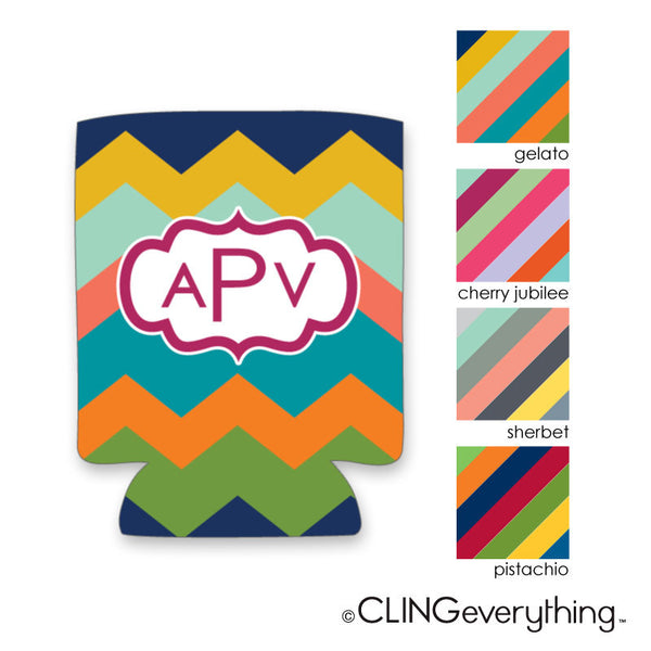Chevron Wide Stripe Koozie Personalized Monogram, Initial, Name