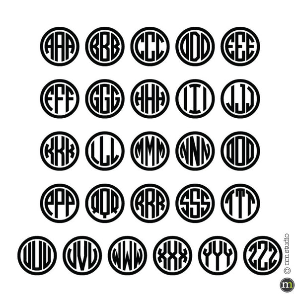 Circle Monogram Wall Decal Initals