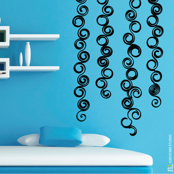 Curled Up Wall Decal Swirls Border